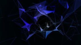 与移动的线、小点和三角的抽象蓝色几何背景 结节幻想摘要技术 循环 库存例证