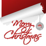 与滚动老年的被编织的文本的一张圣诞卡 免版税库存照片
