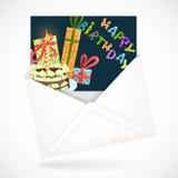 与贺卡的邮政信封 免版税图库摄影