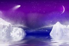与水反射的冬天夜 库存图片