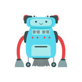 与头发传染媒介动画片例证的蓝色友好的机器人机器人字符 免版税库存照片