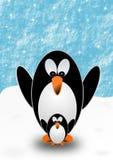 与2只企鹅的贺卡 免版税库存照片