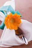 与延命菊的餐巾 免版税图库摄影