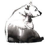 与水和墨水凹道的黑白绘画负担例证 图库摄影