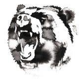 与水和墨水凹道的黑白绘画负担例证 免版税图库摄影