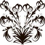 与黑和桃红色花卉样式的无缝的样式在白色背景 库存照片