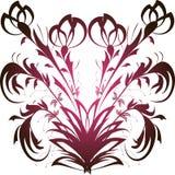 与黑和桃红色花卉样式的无缝的样式在白色背景 免版税库存图片
