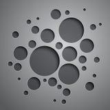 与黑和灰色圈子的抽象背景 免版税库存图片