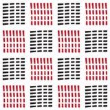 与黑和红色破折号线的无缝的方形块样式 图库摄影