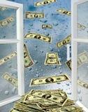与水和美元下落的被打开的窗口  库存照片