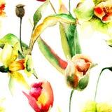 与水仙和郁金香花的无缝的墙纸 库存图片
