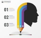 与头和铅笔的Infographic模板 向量 免版税库存图片