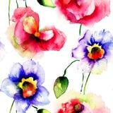 与水仙和鸦片花的无缝的墙纸 库存照片