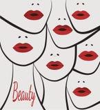 与嘴唇的风格化妇女面孔 免版税图库摄影