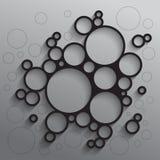 与黑圈子的抽象背景 免版税库存图片