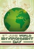 与绿土的在乱画样式,传染媒介例证的海报和生物多样性 库存例证