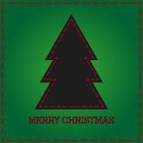 与黑圣诞树的绿色背景卡片 免版税图库摄影