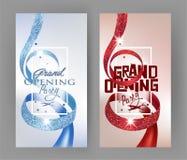 与织地不很细卷曲红色和蓝色丝带和金冠的典雅的盛大开幕式邀请卡片 库存照片