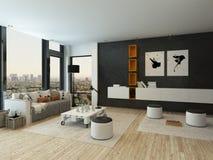 与黑墙壁和现代家具的客厅内部 免版税图库摄影