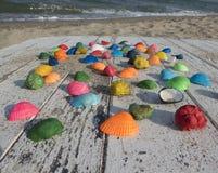 与贝壳、海滩和波浪的背景 库存图片