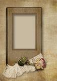 与维多利亚女王时代的卡片的葡萄酒背景和上升了 免版税库存照片