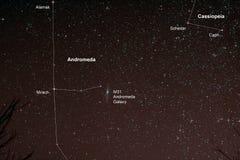 与仙女座星系的Starfield 库存图片