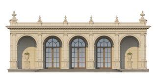 与离子半露方柱的拱廊在经典样式 3d回报 免版税库存图片