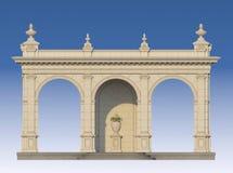 与离子半露方柱的拱廊在经典样式 3d回报 库存图片
