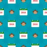 与猴子和日历的圣诞节无缝的样式 图库摄影