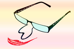 与鼻子和嘴的玻璃在呈虹彩backgro 免版税库存照片