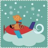 与猴子圣诞老人的圣诞卡 免版税库存图片