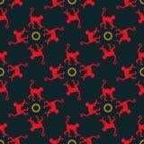 与猴子的五颜六色的无缝的样式背景 库存图片