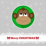 与猴子的圣诞卡模板 库存照片