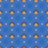与猴子的圣诞节无缝的样式 免版税图库摄影
