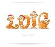 与猴子的新年卡片在圣诞老人帽子 免版税库存照片