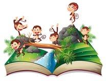 与猴子的突然出现书 免版税库存图片