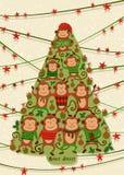 与猴子,例证的新年卡片 有益于日历、笔记本盖子、海报或者党邀请 图库摄影