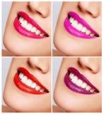 与紧密伟大的牙的微笑的妇女嘴。 免版税库存照片