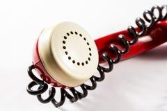 与导线的电话报告人 库存照片