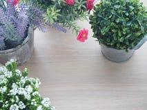 与黑屏的木办公室桌文本的和品种开花 库存照片