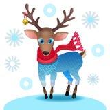 与围巾的逗人喜爱的小鹿 库存照片