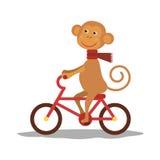 与围巾的逗人喜爱的猴子在运输 向量 库存图片