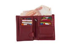 与货币和银行信用卡的持有人 库存照片