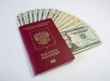 与货币的护照 免版税库存照片