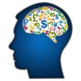 与货币符号的人面在脑子 免版税库存照片