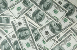 与货币美国人的背景一百元钞票 免版税库存图片