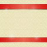 与水平的红线装饰的邀请卡片 免版税库存照片