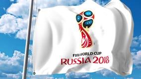 与2018年世界杯足球赛商标的挥动的旗子反对天空背景 社论3D翻译 库存例证