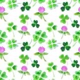 与水彩三叶草叶子和花的无缝的样式设计的 免版税库存图片