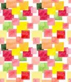 与水彩五颜六色的正方形的无缝的马赛克样式 库存照片